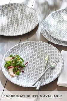 Set of 4 Geo Print Melamine Dinner Plates
