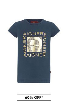 Aigner Girls Navy Cotton T-Shirt