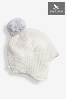 The Little Tailor Cream Baby Trapper Hat With Pom Pom