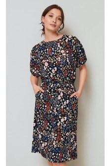 Navy Floral Cutout Back Dress
