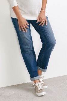 Denim Mid Blue Maternity Boyfriend Jeans