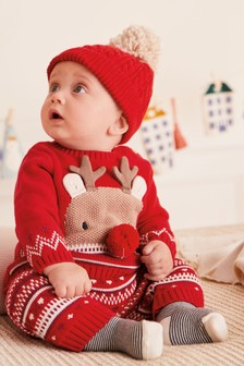 Red Reindeer Knitted Jumper And Leggings Set (0mths-2yrs)