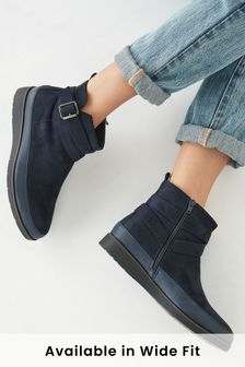 Navy Regular/Wide Fit Forever Comfort® Buckle Ankle Boots