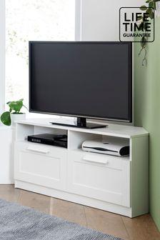 White Flynn Corner TV Stand
