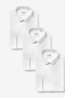 White Slim Fit Single Cuff Cotton Shirts 3 Pack