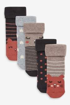 Navy/Grey 5 Pack Towelling Character Ankle Socks