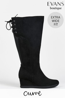 Evans Curve Extra Wide Fit Black Wedge Long Boots