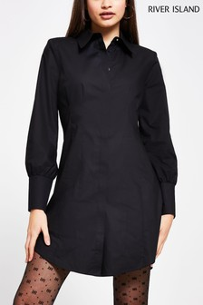 River Island Black Tuck Shoulder Pad Shirt Dress