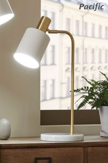 Biba Marble Footed White and Gold Retro Table Lamp by Pacific Lifestyle