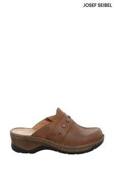 Josef Seibel Brown Catalonia Slip-On Leather Clogs