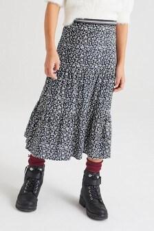 Navy Floral Midi Skirt (3-16yrs)