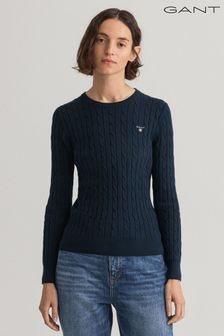 GANT Navy Stretch Cotton Cable Crew