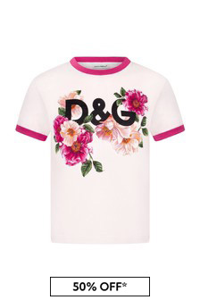 Dolce & Gabbana Kids Girls Pink Cotton T-Shirt