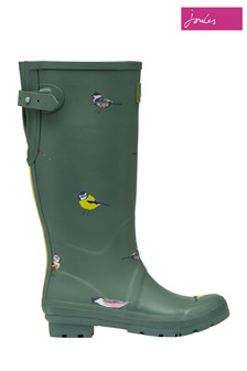 Joules Green Printed Welly With Back Gusset