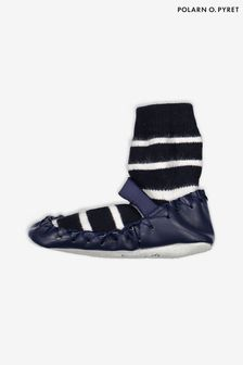 Polarn O. Pyret Blue Striped Moccasins