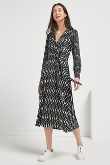 Dogstooth Print Long Sleeve Wrap Dress