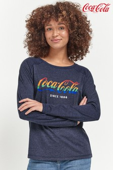 Navy Licence Coca Cola® Raglan Long Sleeve Top