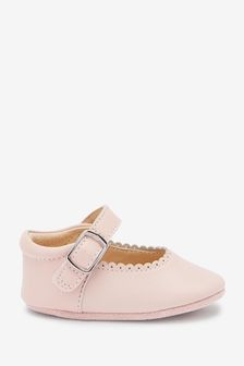 Pink Leather Little Luxe™ Mary Jane Pram Shoes (0-18mths)