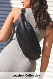 Black Leather Oversized Sling Bag