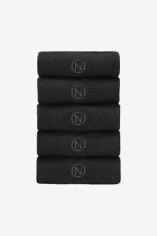 Black 5 Pack Cushioned Sole Socks