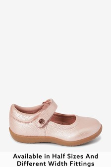 Rose Gold Leather Wide Fit (G) Little Luxe™ Mary Jane Shoes (Younger)