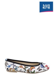 Riva White Allessia Butterfly Ballet Flats