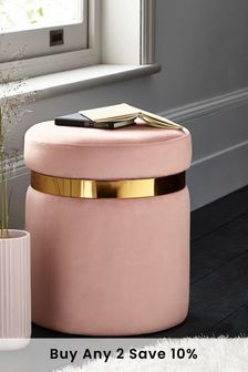 Opulent Velvet Blush Elinore Storage Stool