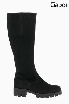 Gabor Bram Black Leather Knee Length Fashion Boots