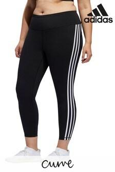 adidas Curve Black 3 Stripe High Waisted 7/8 Leggings