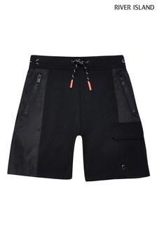 River Island Black Nylon Jersey Blocked Shorts