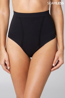Black Seamfree Firm Control High Waisted Knickers