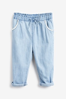 Denim Light Blue Chambray Crochet Pocket Trousers (3mths-7yrs)