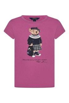 Girls Pink Cotton Jersey Bear T-Shirt