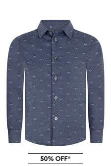 Boys Blue Cotton Embroidered Logo Shirt