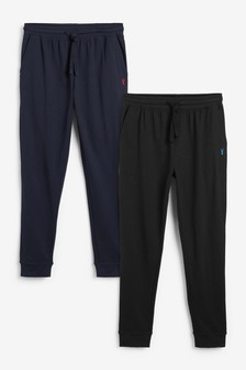 Black/Navy Cuffed Joggers Two Pack Lightweight Loungewear