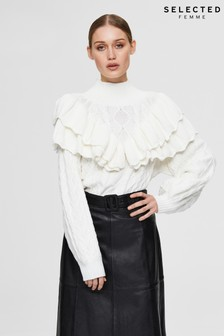 Selected Femme Sustainable White Ruffle Cable Victoria Jumper