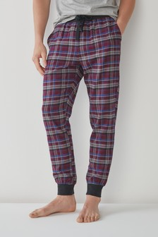 Plum Check Woven Cuffed Pyjama Bottoms