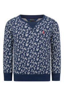Girls Navy Floral Print Sweater