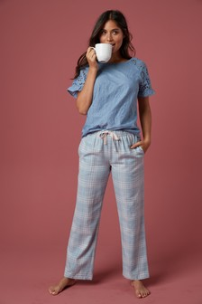 Blue Broderie Cotton T-Shirt