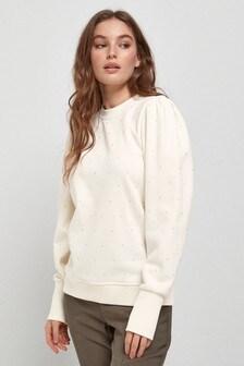 Ecru Embellished Puff Sleeve Sweatshirt