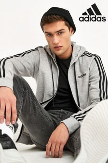 adidas Grey Essentials 3 Stripe Zip Through Hoodie