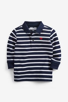 Navy Long Sleeve Stripe Polo (3mths-7yrs)