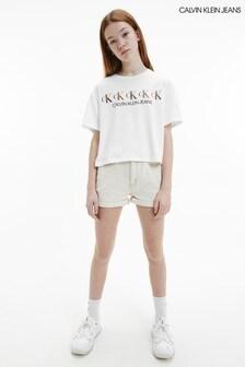 Calvin Klein Jeans White CK Foil Boxy T-Shirt