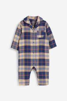 Navy Check Pyjama Sleepsuit (0mths-3yrs)