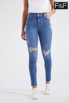 F&F Bright Blue Push-Up Jeans