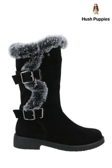 Hush Puppies Black Megan Ladies Mid Boots
