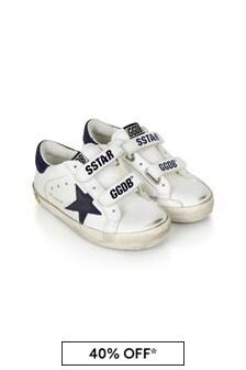 حذاء رياضي ولادي جلد أبيض