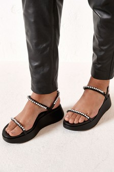 Black Jewelled Flatform Sandals
