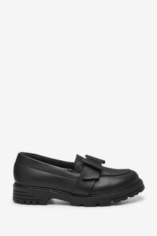 Black Bow Leather Chunky Loafers