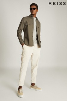 Reiss Green Pricey Heavy Twill Twin Pocket Overshirt